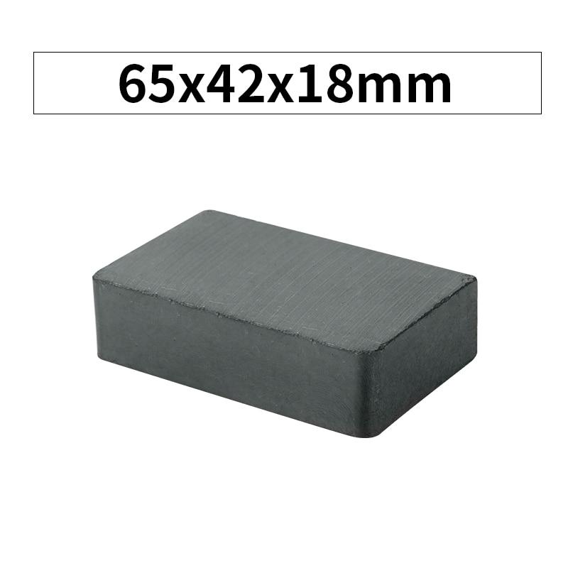 Rkzct 1 peça prático bloco preto cerâmica ímã 65x42x18mm permanente cuboid ímãs para diy placa de publicidade uso doméstico imanes