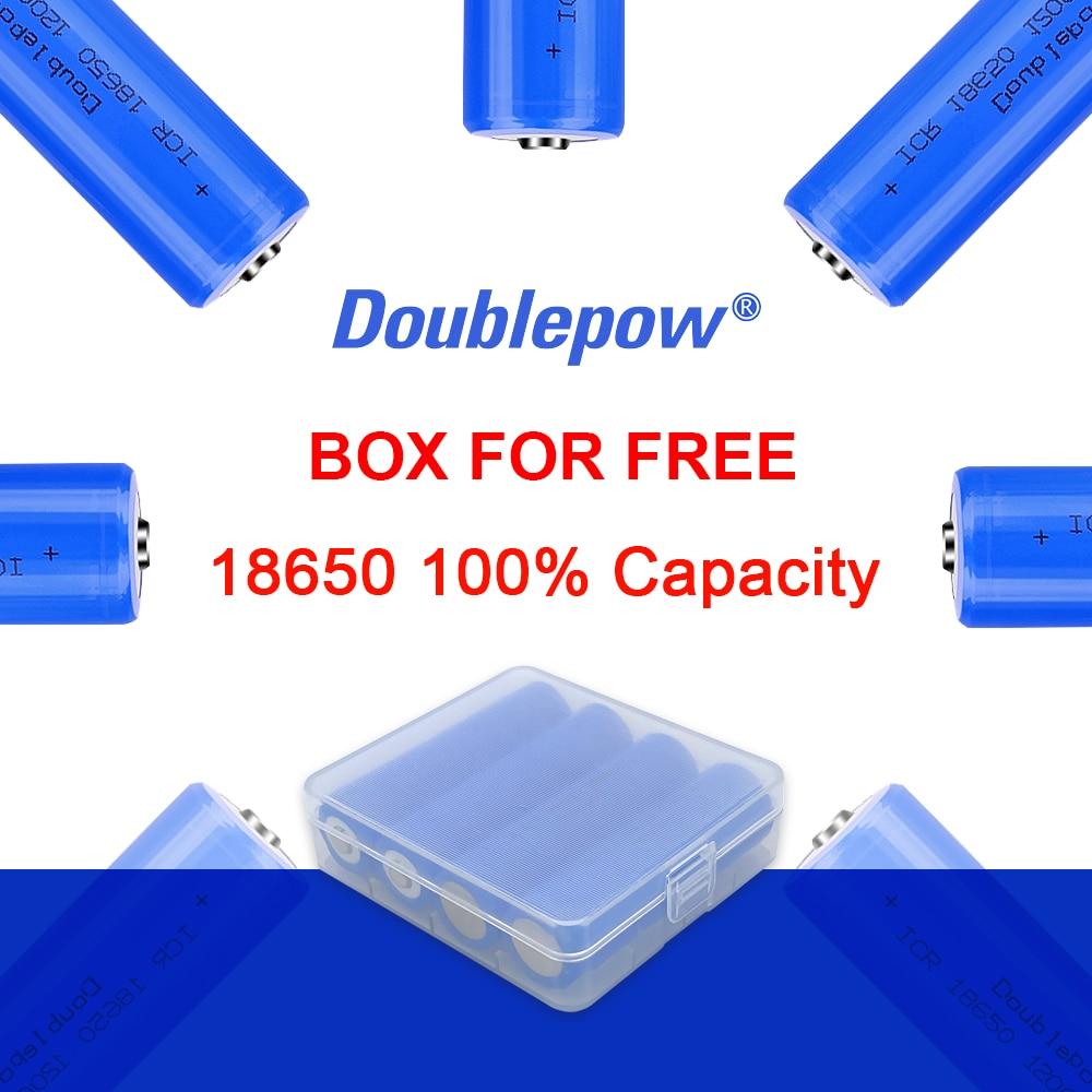 100% originales 4 Uds. Baterías Doublepow 3,7 V 18650 2000/2600/3400mAh batería recargable Li-ion batería de litio para linterna