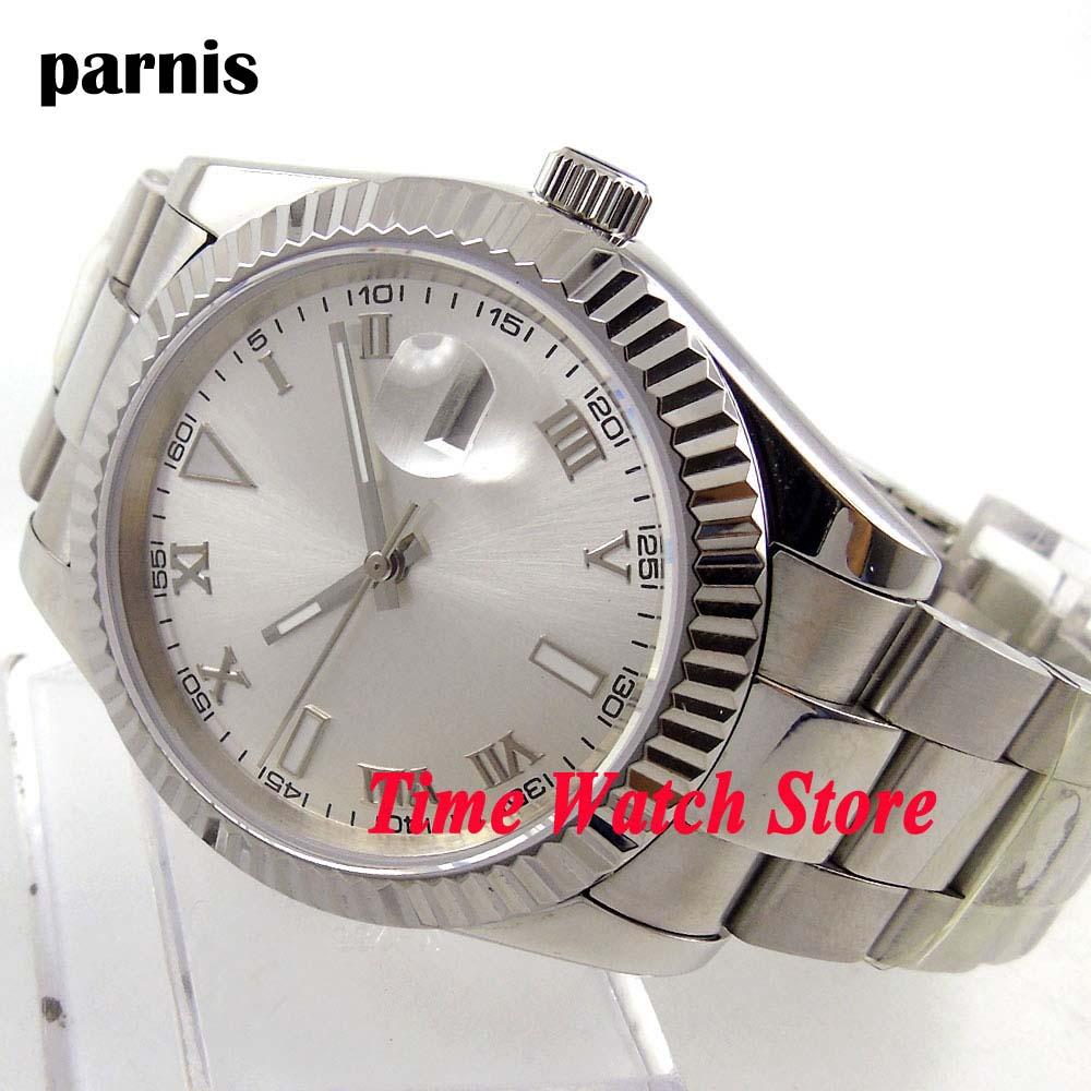 Parnis clásico 40mm esfera plateada lupa luminosa abertura para fecha cristal de zafiro movimiento automático reloj para hombres 188
