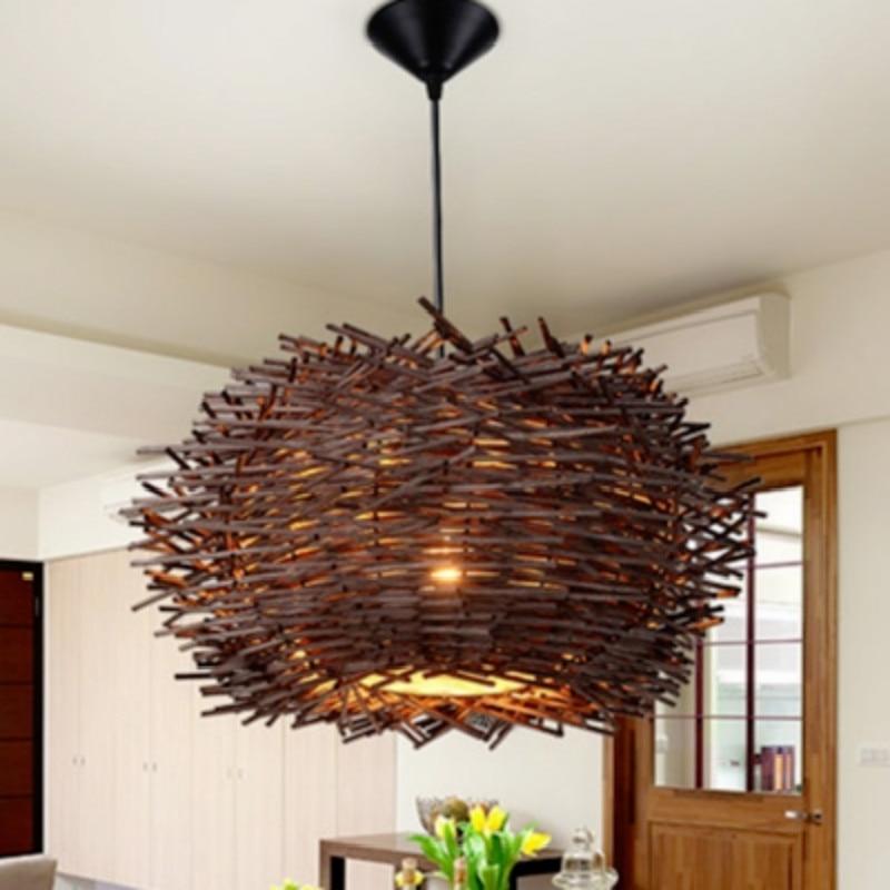 Lámpara colgante LED moderna de ratán de campo, lámpara colgante nórdica de restaurante japonés, cocina, cafetería, lámpara de iluminación para el hogar