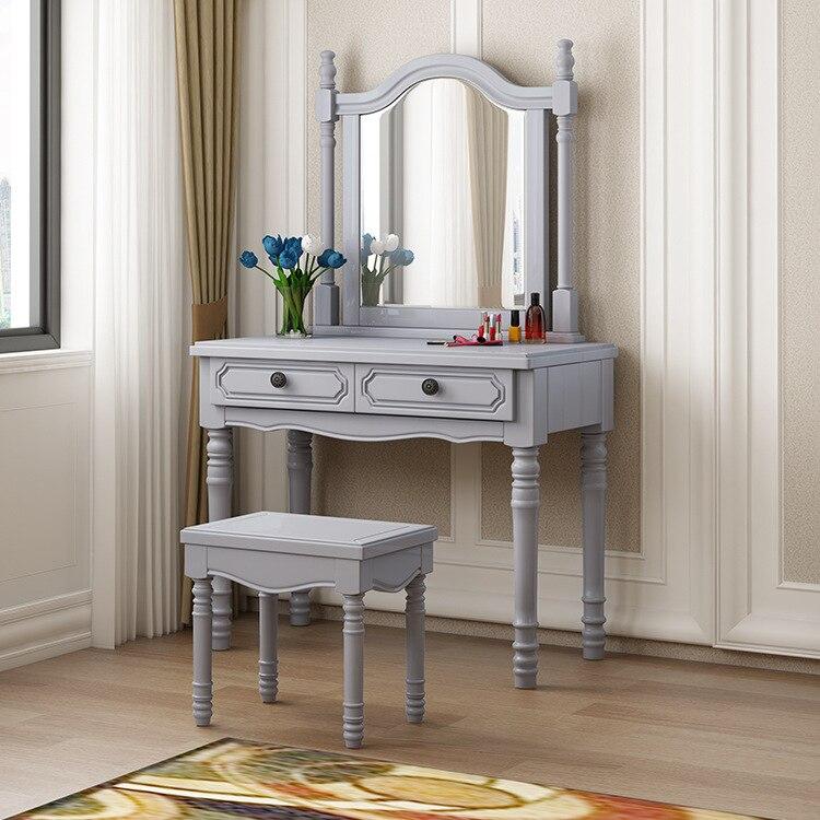 Роскошный американсветильник легкий туалетный столик из массива дерева простой многофункциональный домашний туалетный столик набор мебе...