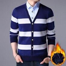 Модные мужские свитера, мужской вязаный свитер, теплый лоскутный свитер с v-образным вырезом, имитация двух частей, джемперы, одежда из хлопк...