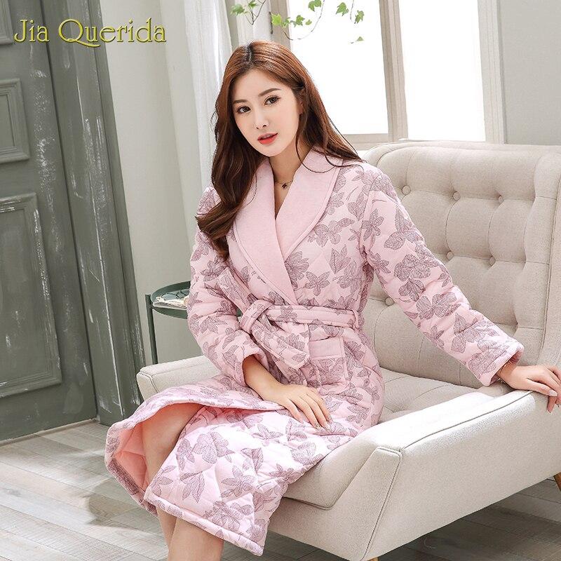 Nueva bata de mujer de talla grande, bata para la casa, bata de invierno gruesa de algodón rosa, vestido con estampado Floral con cinturón, Kimono de algodón de 3 capas