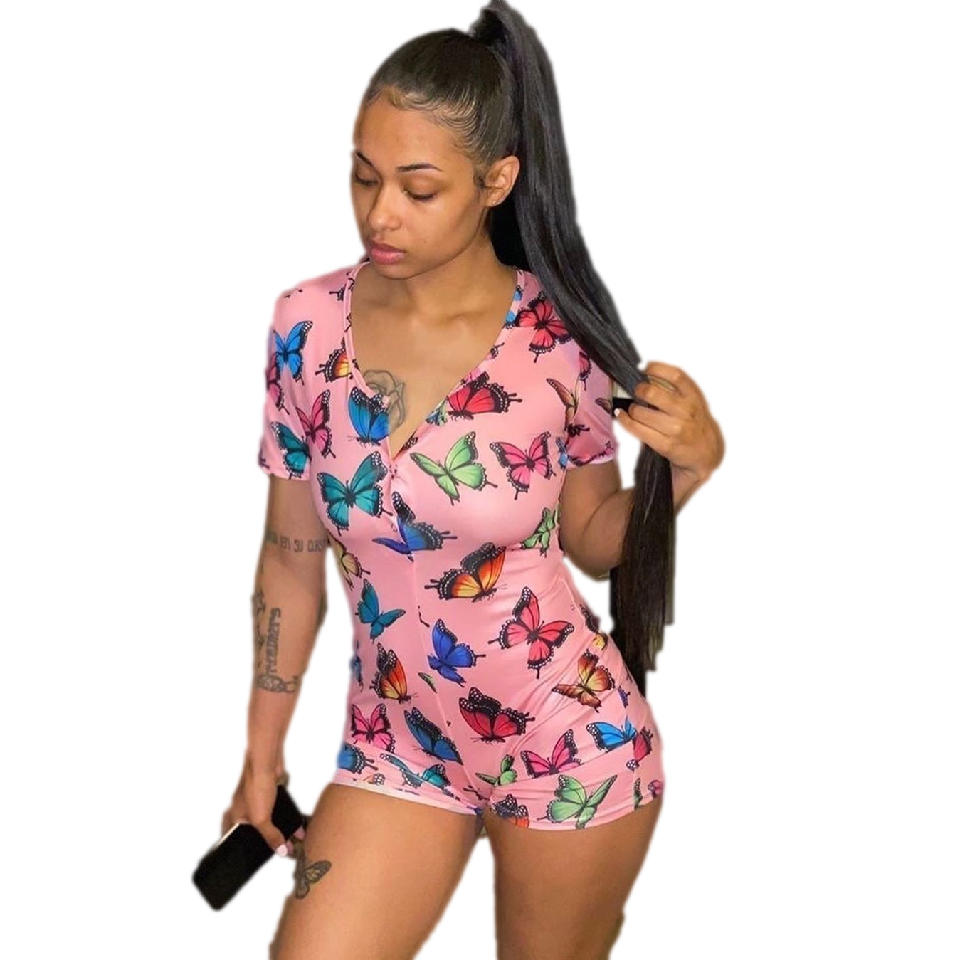 Women's Rompers Fashion Printed Short-Sleeved Tight Jumpsuit 2020 Summer New Jumpsuit European and American Clothing euro american simple round necked short sleeved chic port flavored elastic knitted dress with tight body and buttocks