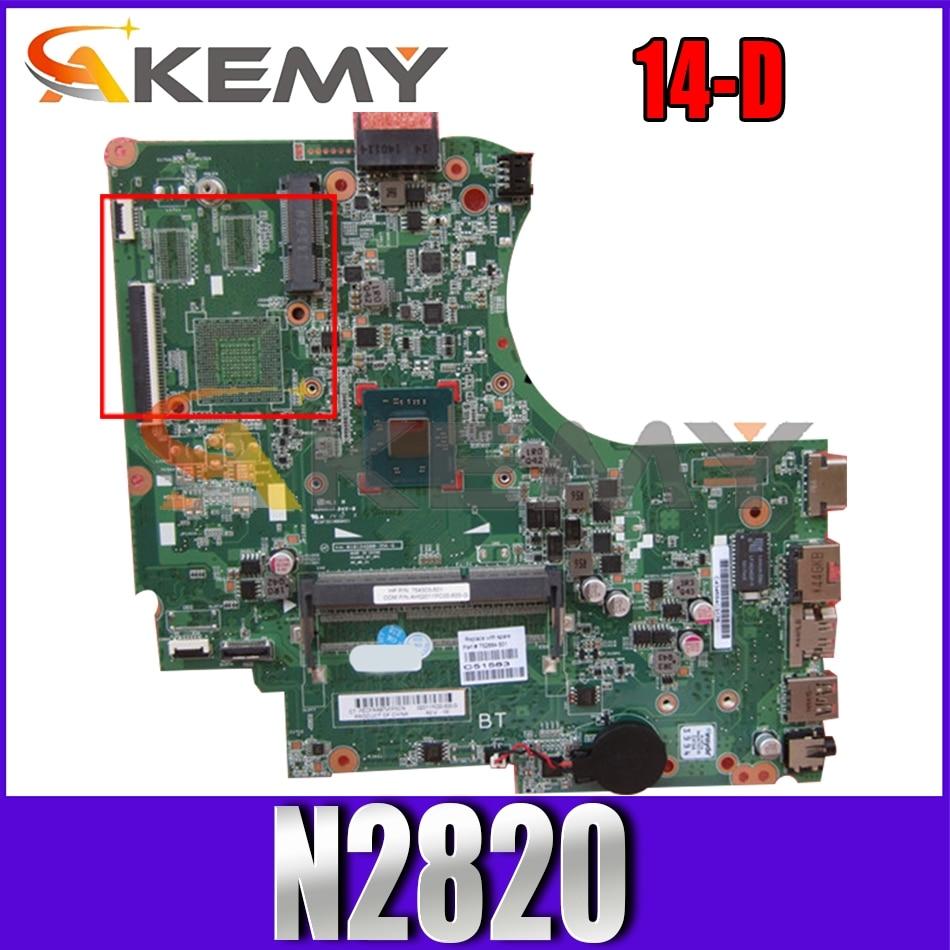 For HP Pavillion 14-D 010194Q00 752884-501 SR1SG N2820 DDR3 Notebook motherboard Mainboard full test 100% work