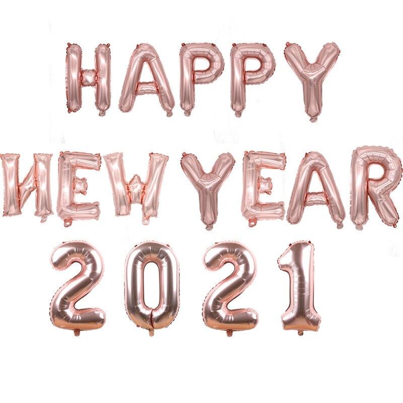 """14 pces 16 polegada rosa ouro número """"2021"""" balões da folha celebração feliz natal feliz ano novo festa decorações suprimentos"""