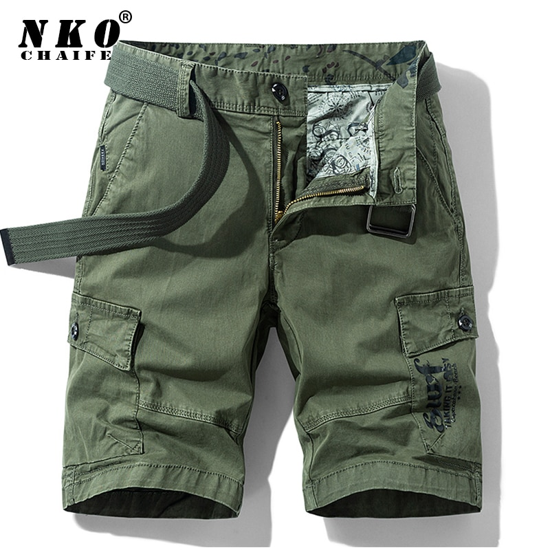 CHAIFENKO Men Summer Cotton Military Shorts 2021 New High Quality Casual Cargo Short Pants Loose Poc