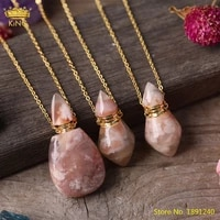 natural cherry agates stone gold perfume bottle pendant necklace fashion women healing essential oil diffuser bottle jewelry