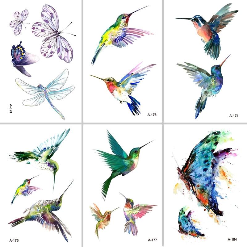 Wyuen Bird Temporary Tattoo for Adult  Waterproof Tatoo Stickers Body Art Beautiful 3D Butterfly Fake Tattoo for Women A-078