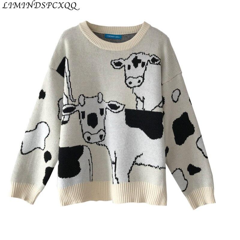 Suéter de vaca holgado informal Vintage para Mujer, suéteres Harajuku coreanos para...