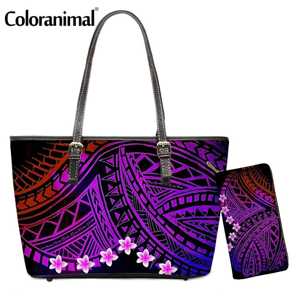Bolsa com Bolsa Coloranimal Polinésia Plumeria Tribal Impresso Senhoras Bolsala Ombro Pçs – Set 2 pu Crossbody Top-handle Bolsa