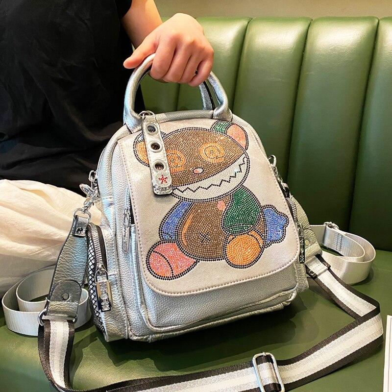 New Women Backpack Ita Rhinestone School Bags for Teenagers Girls Cute Bear Pattern Back Pack Female Multifunction Rucksack