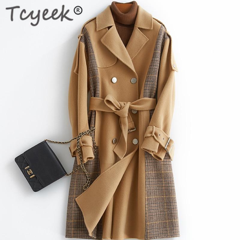Tcyeek elegante 100% lana Abrigo Mujer chaqueta de invierno las mujeres Abrigo...