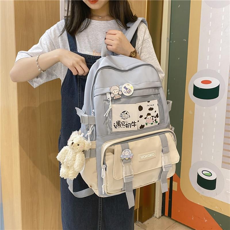 EnoPella موضة مقاوم للماء المرأة على ظهره فتاة المراهقين Kawaii حقيبة كمبيوتر محمول حقيبة الظهر لطيف طالب حقيبة مدرسية Mochila الإناث
