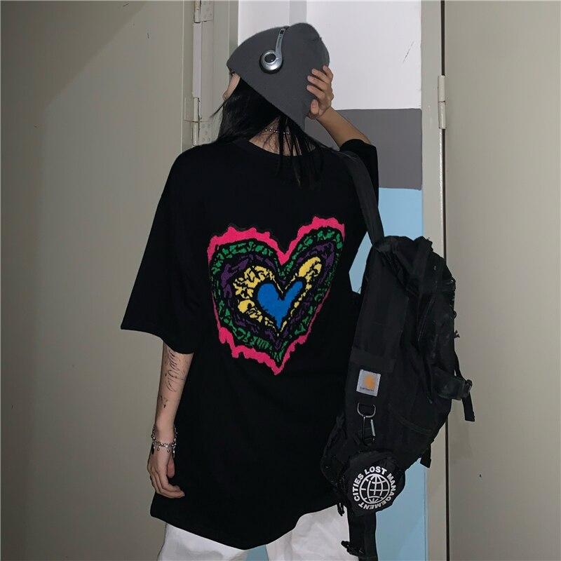 T-shirt Harajuku Sweet Oversized Loose Street Style Pocket White Black Spring Streetwear Heart Embroidery  Fashion Short Sleeve