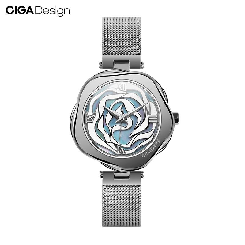 CIGA DESIGN-ساعة يد نسائية ميكانيكية أو كوارتز ، علبة من الفولاذ المقاوم للصدأ ، حركة يابانية