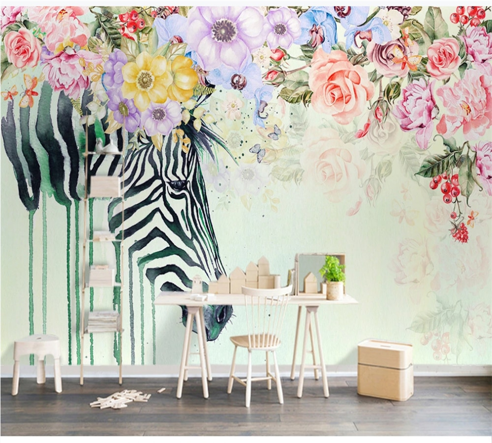 Custom wallpaper mural 3D-8D wall cloth beautiful zebra flower Nordic indoor background decoration painting