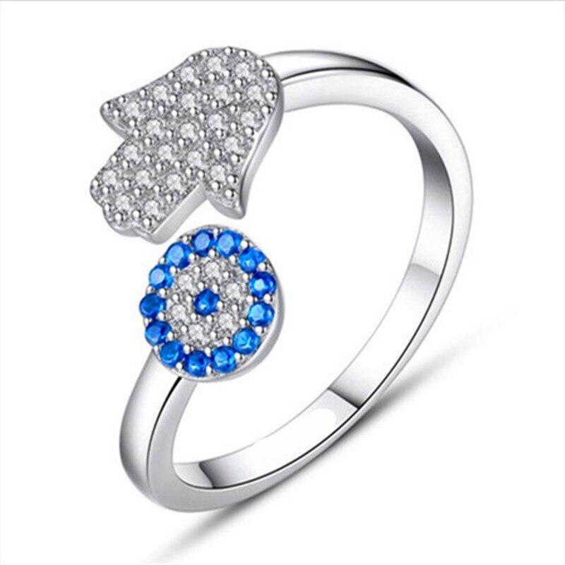 Anillos ajustables A MANO DE FÁTIMA CON circonita cúbica de cristal de la suerte, Anillos abiertos de flores de Sol Azul de moda para Mujer, Anillos femeninos para Mujer