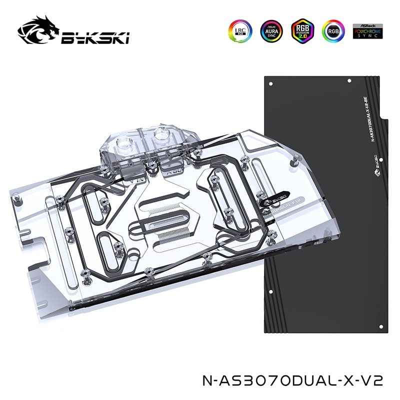 Bykski Watercooler ل ASUS المزدوج/TUF RTX 3060TI/30708G الألعاب ، غطاء كامل النحاس المياه كتلة ، N-AS3070DUAL-X-V2