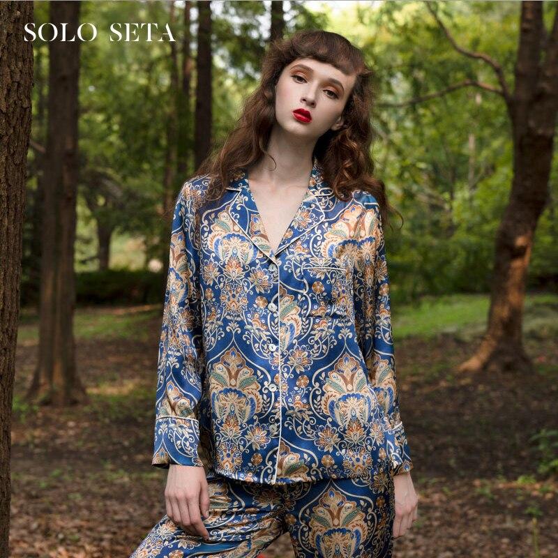 Soloseta بيجامة من الحرير الثقيل 100% الحرير الفاخرة للمرأة المنزل ارتداء هندسية الطباعة قطعتين مجموعة