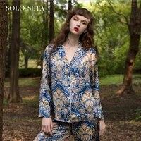 %e2%98%85soloseta heavy silk pajamas 100 silk luxury womens home wear geometric printing two piece set