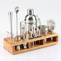 23 pcsset stainless 750ml steel cocktail shaker mixer drink bartender browser kit bars bartending tools with wine rack stand