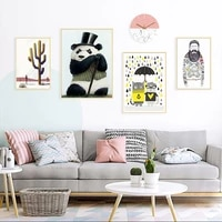 simple nordic style prints cartoon panda posters canvas painting wall art umbrella picture baby kids room cat home decoration
