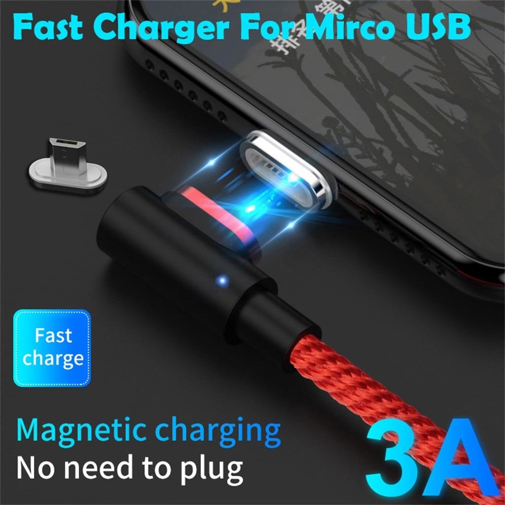 2M 3A 90 grados magnético de carga rápida Cable de datos para micro USB cargador de teléfono cargador de viaje Cable USB cable de teléfono