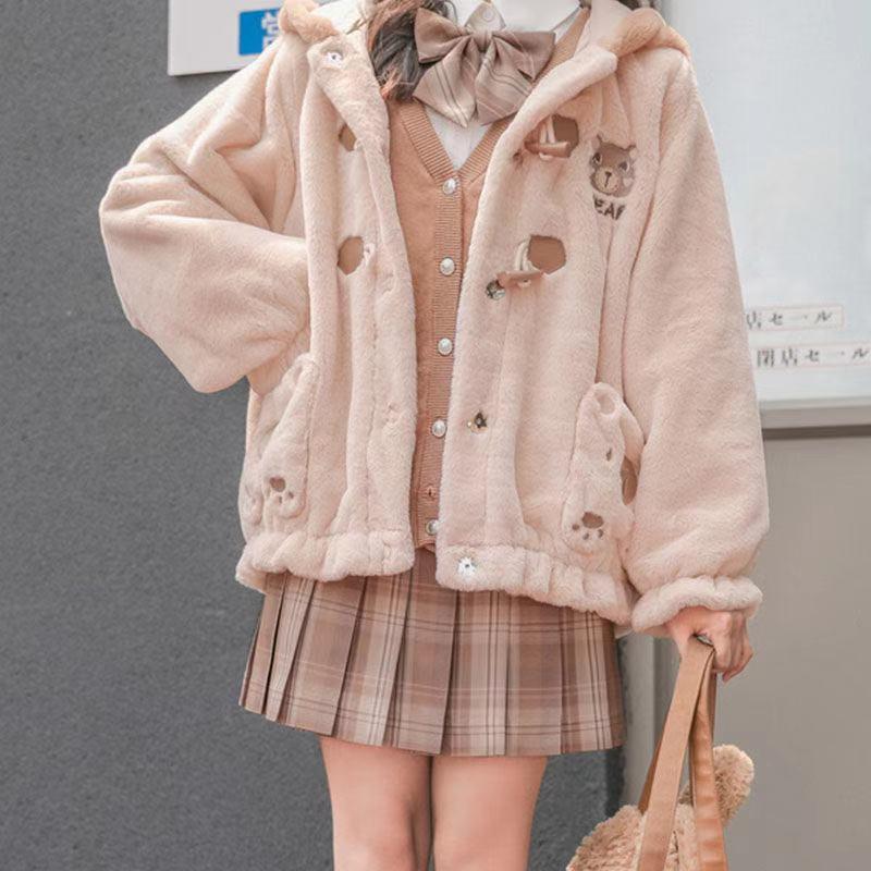 سترة نسائية مبطنة بالقطن برسومات كرتونية ، معطف للطالبات الكوريات اليابانية على طراز الخريف والشتاء ، مع زر على شكل قرن ثور ، وجيب الدب