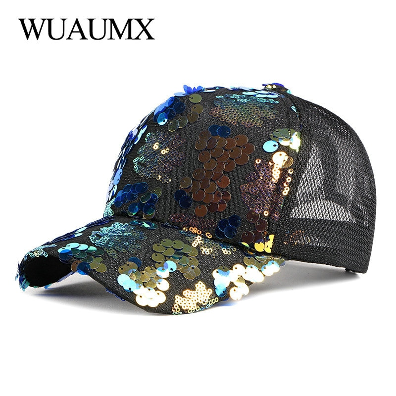 Wuaumx Casual Summer Mesh Baseball Caps Women Net Breathable Snapback Hat Fashion Sequins Hip Hop Cap Outdoor Streetwear Sun hat