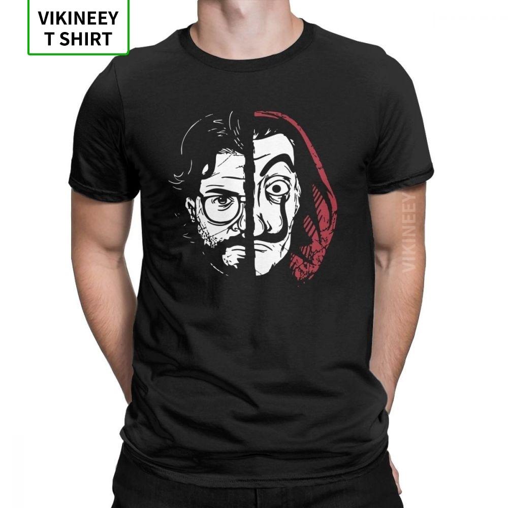 La casa de papel profesor t-camisa masculina dinheiro roubo novidade camiseta tripulação pescoço casa de algodão roupas de papel mais tamanho t camisa