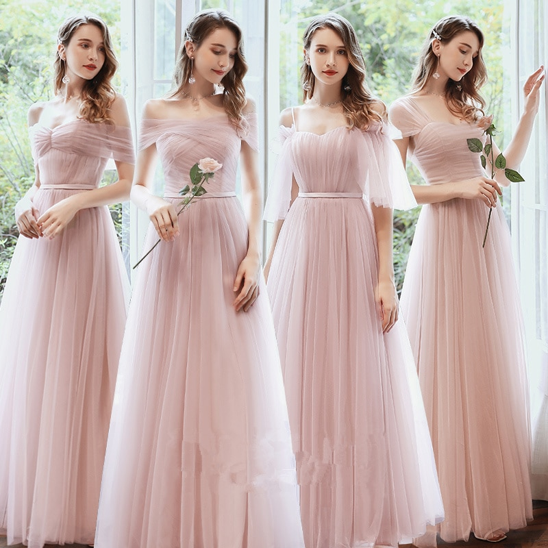New Pink Elegant Bridesmaid Dresses Long Mismatched Dusty Green Prom Gown for Wedding Party Vestidos