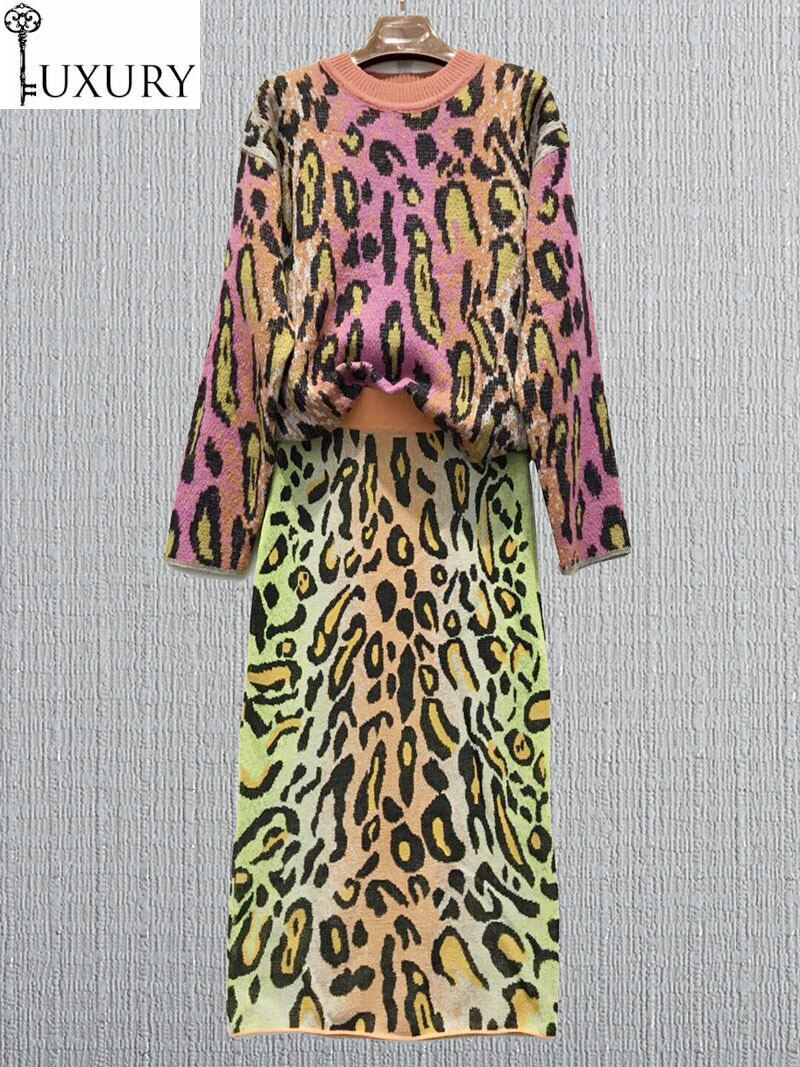 سترة نسائية محبوكة بطبعة جلد الفهد ، سترة بأكمام طويلة وتنورة منتصف الساق ، مجموعة خريف 2020