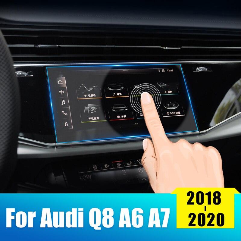 Para Audi A7 Q8 A6 C7 C8 2018, 2019, 2020, vidrio templado de coche pantalla de navegación de coche Protector de pantalla película LCD etiqueta engomada Accesorios