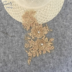 Applique tecido de renda strass decorações diy colar de renda artesanato aplicações para roupas bordado decote vestuário accessoires