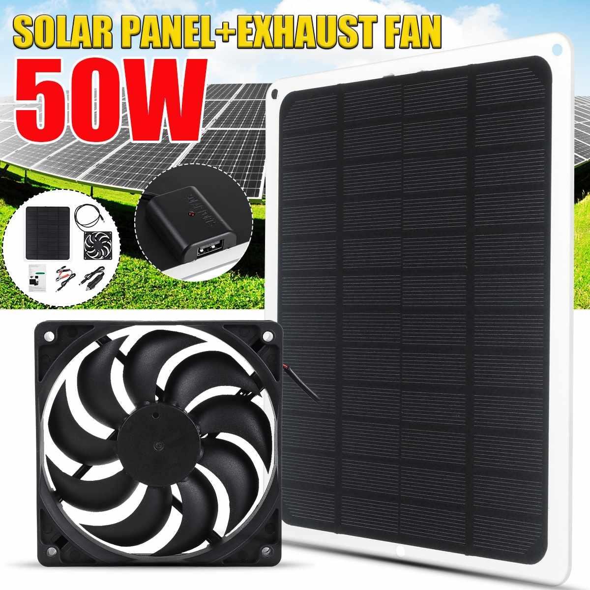 50W 12V Панели солнечные приведенный в действие Вытяжной вентилятор Водонепроницаемый USB, зарядное устройство солнечной Вытяжной вентилятор ...