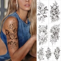 waterproof temporary sleeve tatooo sticker black jasmine rose flower daisy leaf neck sexy tatoo body art fake tattoos male women