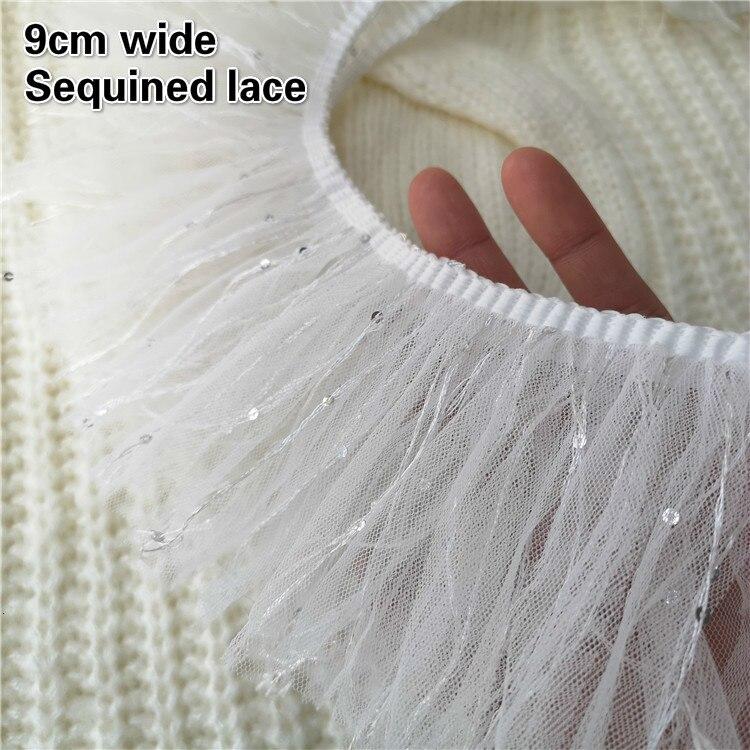 9cm de largura branco lantejoulas malha borla laço fita tecido brinquedo diy boneca animal estimação roupas material moda feminina saia costura acessórios