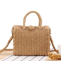 new cross body hand carrying dual use leisure woven japanese and korean small square box straw woven beach bag