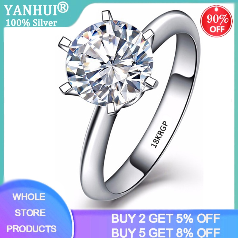 With Certificate 18K RGP Stamp Pure Solid White Gold Ring Solitaire 2.0ct Lab Diamond Wedding Rings For Women Silver 925 Ring 95% off with certificate luxury solitaire 2 0ct zirconia diamond ring 925 solid silver 18k white gold wedding rings for women