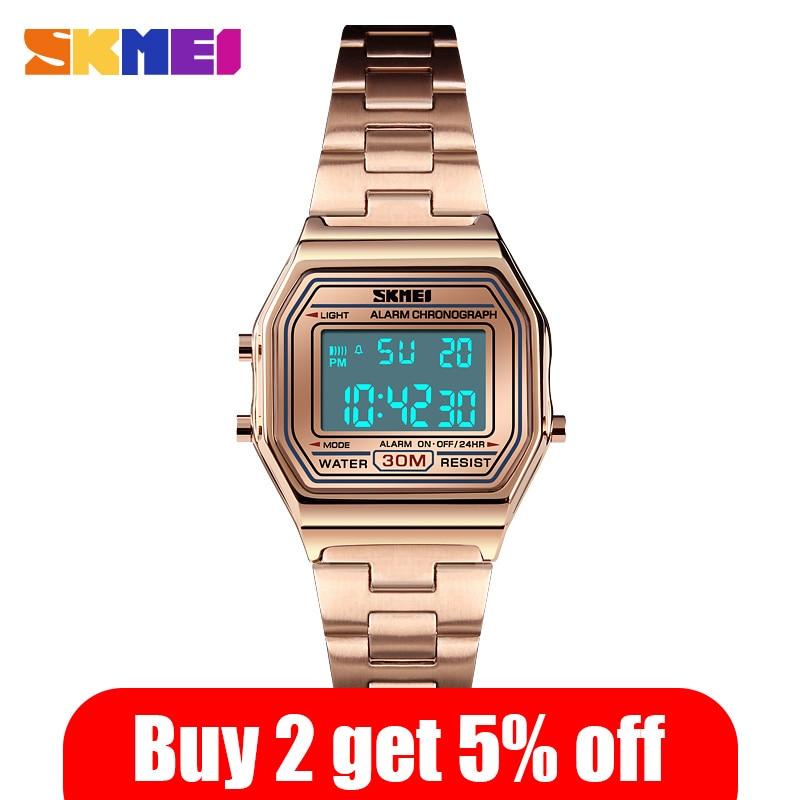 SKMEI Simple Ladies Waterproof Wristwatch Women Female Digital Watch Luxury Stainless Steel Strap Relogio Feminino Clock 1415 enlarge
