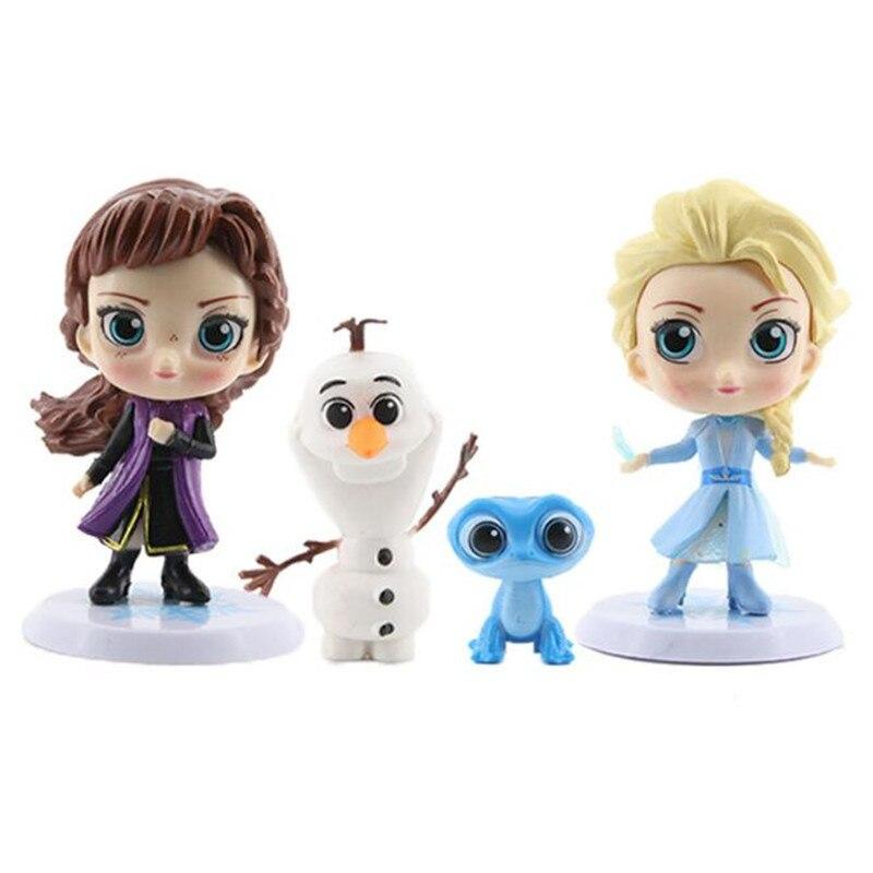 Disney gefrorene Elsa Anna Olaf hand büro puppe 4 teile/satz Q Version Figur Puppe Geburtstag Geschenk Kuchen Deco PVC Figuren spielzeug modell