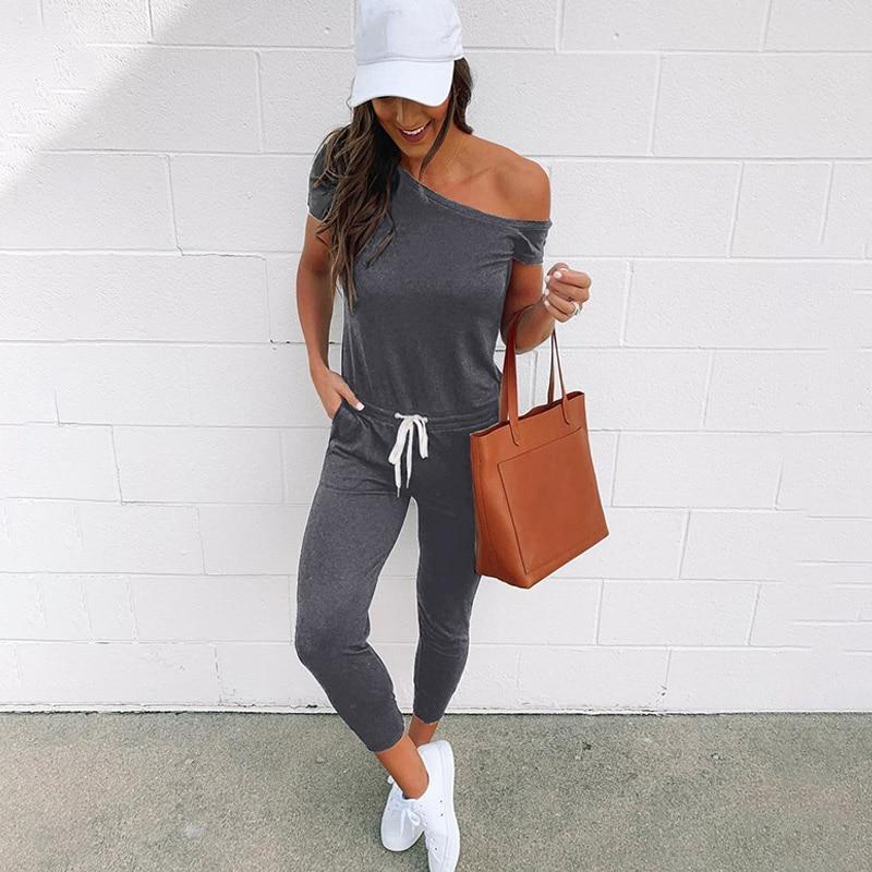 Simple Women Short Sleeves Pencil Pants Jumpsuit One Shoulder Side Pockets Solid Color Sexy Casual Holiday Wear Jumpsuit Scoop burgundy side pockets one shoulder mini dress