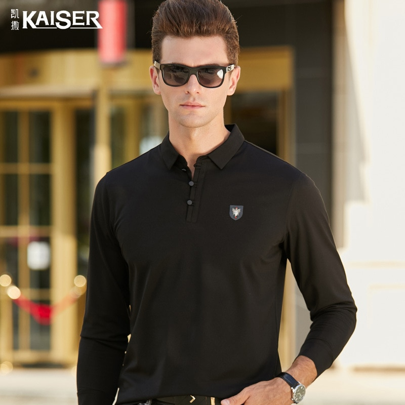 Caesars Men's 2021 Spring and Autumn New Men's Light Business Lapel Polo Shirt Solid Color Casual Long-sleeved T-shirt Men tenis