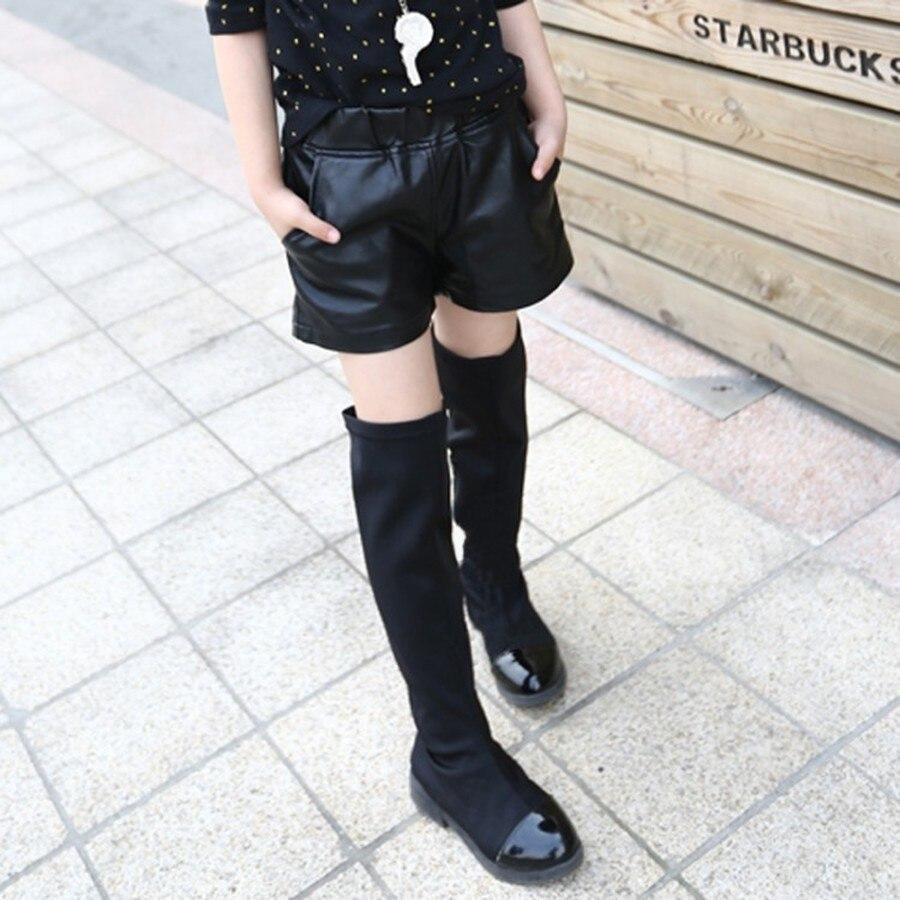 Short en Faux cuir pour filles   Laine dhiver, pantalons courts chauds et épais pour enfants, bas en cuir solide décontracté