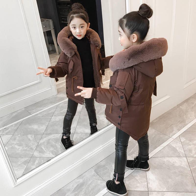 2020New Fashion Winter Children Girls Thick Warm Jackets Kids Girls Faux Fur Collar Parkas Teenage Cotton Outwear Coats W143 enlarge