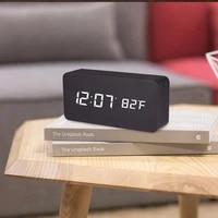 led wooden sound control alarm clock temperature display usbaaa home decoration alarm clock