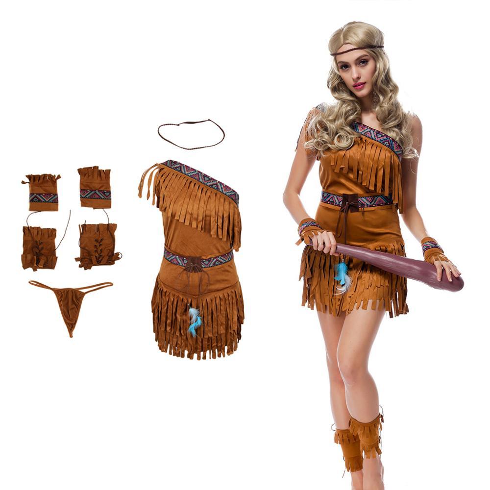 Traje indio de gamuza con Tasseled para mujer, traje de vestido lujoso de princesa nativo, traje de bosque, traje de cazador, Cosplay, halloween