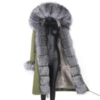 2021 women new winter jacket x long parka real fox fur coat natural fur collar hood warm thick streetwear outdoorwear parka