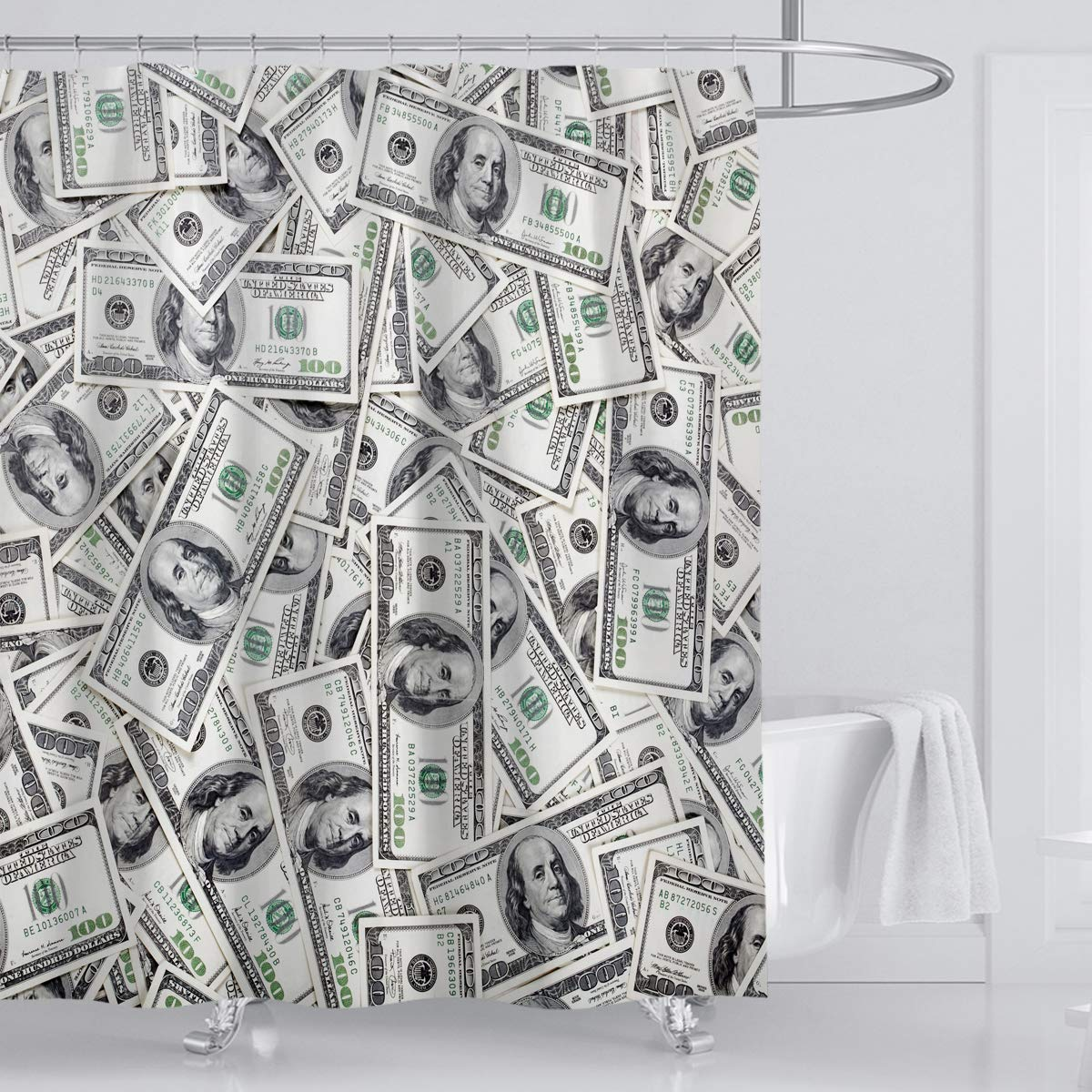 Funny Bill Dollars Shower Curtain Hundred Money United States Waterproof Odorless Shower Curtain Set with 12 Hooks.